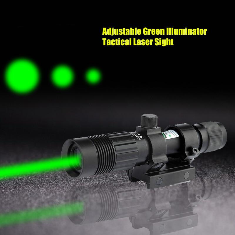 Adjustable Beam Dia Green Laser Flashlight Tactical Green Sight Laser Designator Illuminator Laser with 20mm Mount