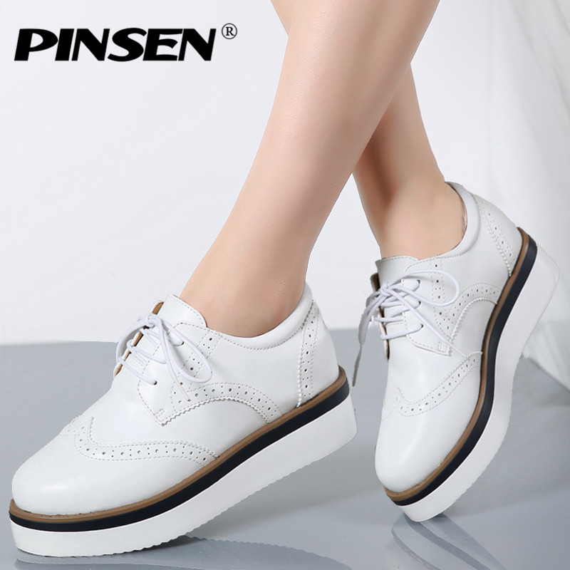 PINSEN 2017 Autumn Women Platform Oxfords Shoes Brogue Lace Up Genuine Leather Shoes Ladies Thick Soled Shoes For Women Flats qmn women crystal embellished natural suede brogue shoes women square toe platform oxfords shoes woman genuine leather flats page 1