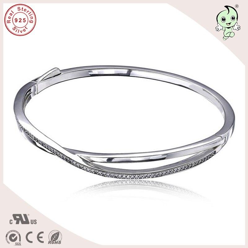 Nouvelle Collection Top qualité célèbre belle et Noble brillant CZ pavage 925 bracelet en argent Sterling infini
