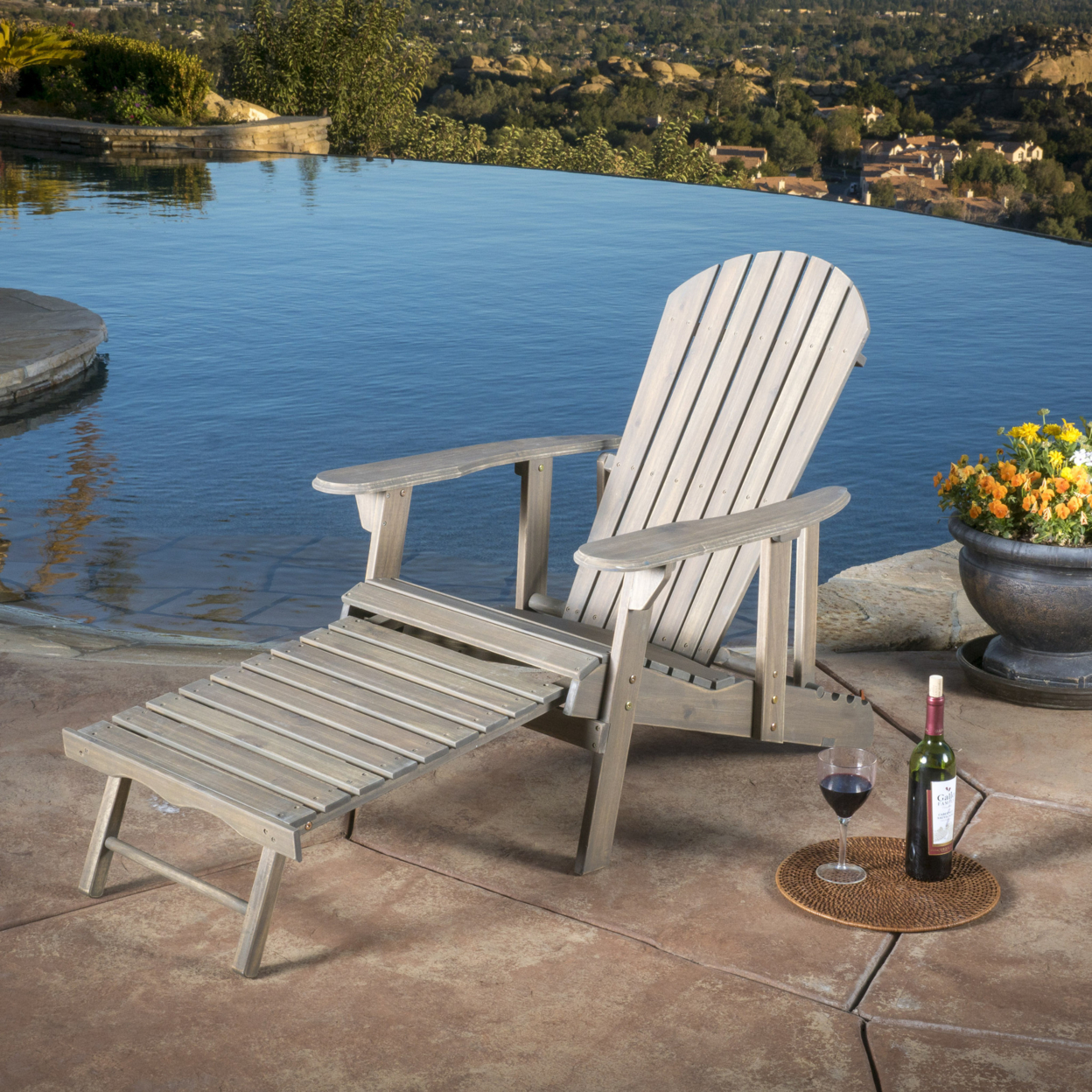 Denise Austin Home Katherine Outdoor Reclining Wood Adirondack Chair with Footrestst mds808450 reclining wheelchairs