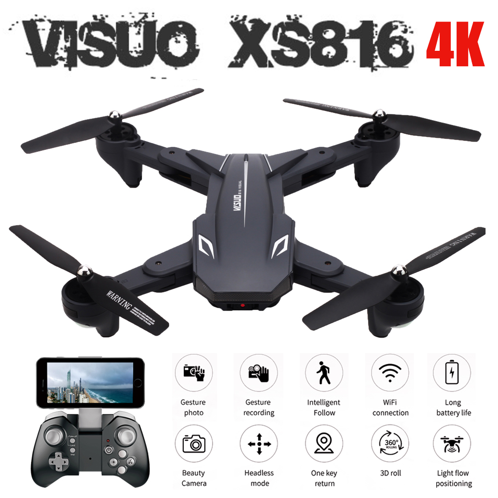 Visuo XS816 Optical Flow Positioning Dual Camera WIFI 2MP 4K RC Drone Gesture Shooting One Key Follow Drone VS XS809HW XS809SVisuo XS816 Optical Flow Positioning Dual Camera WIFI 2MP 4K RC Drone Gesture Shooting One Key Follow Drone VS XS809HW XS809S