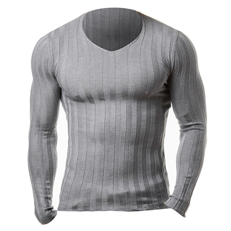INCERUN New Men's Autumn Slim Fit Sweater Plus Size Casual Knitted Sweaters V Neck Pullovers Fashion Solid Men Pullover Warm Top