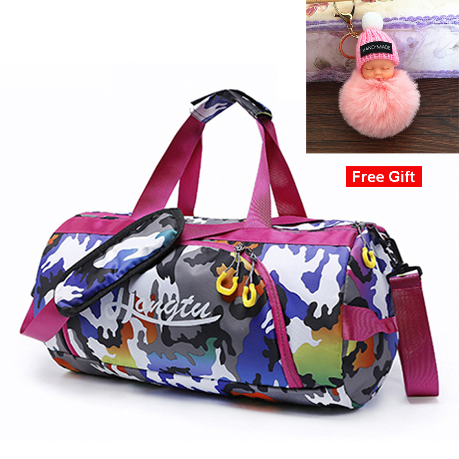 6c3599900207 Multicolour Duffel Bag Gym Female Camo Fitness Sport Bags With Wet Shoes  Compartment Women Girls Pink Gym Waterproof Handbag