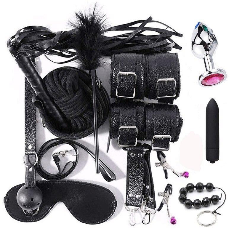 Damen-accessoires Anal Butt Plug & Vibrator Sex Spielzeug Für Frau Bdsm Bondage Set Fesseln Erotische Dessous Handschellen Für Sex Seil Gag Slave Spiele