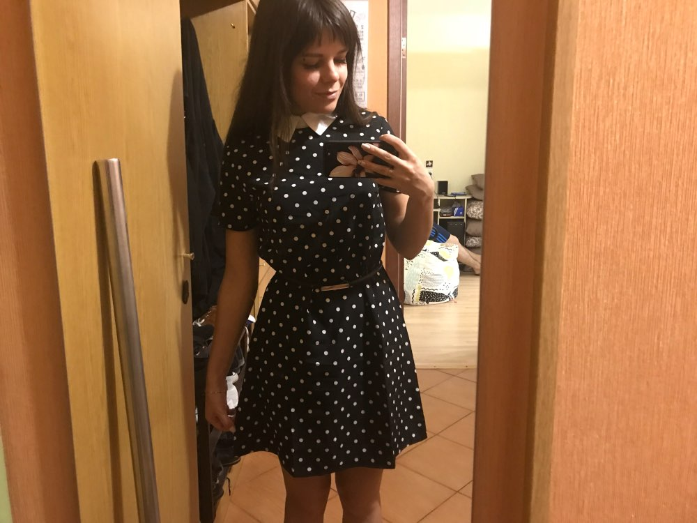 Contrast Collar Polka Dot Straight Dress Womens Black And White Short Sleeve Casual Summer Womens Dresses photo review