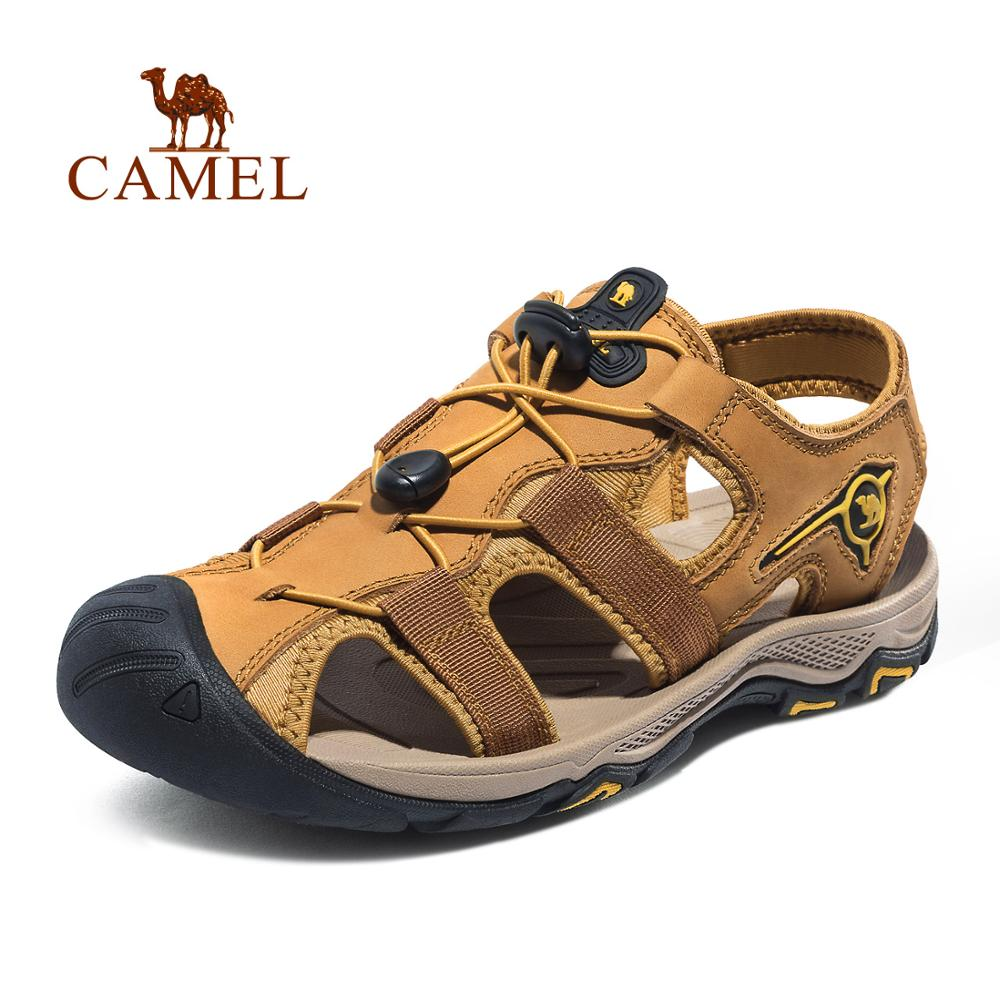 CAMEL Men Genuine Leather Casual Outdoor Sandals Light Anti Collision Durable Waterproof Breathable Male Beach Sandals