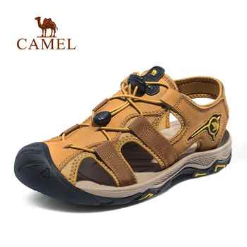 CAMEL Men Genuine Leather Casual Outdoor Sandals Light Anti-Collision Durable Waterproof Breathable Male Beach Sandals - DISCOUNT ITEM  40% OFF Sports & Entertainment