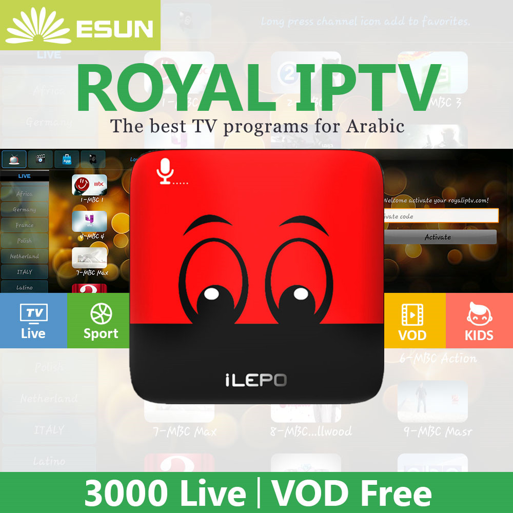 1 Year iLEPO Google Voice Control Android IPTV Free Configured HD Arabic IPTV Android TV Box S905W media player Android 8.1