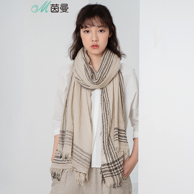 INMAN Spring Autumn And Winter Female Literary Sen Temperament Pleated Tassel Fashion Scarf