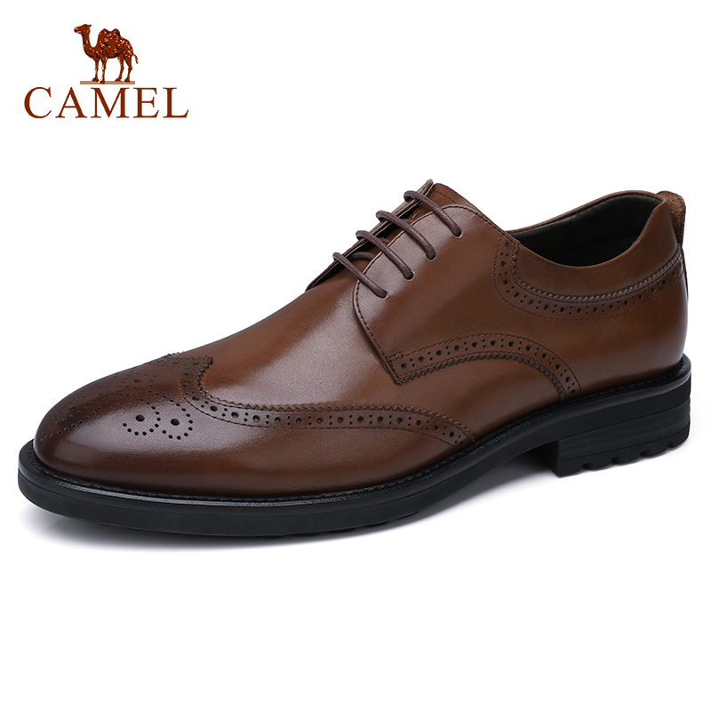 CAMEL Brock Men Shoes Men s England Wild Genuine Leather Carved Flexible Burnt Cowhide Business Casual