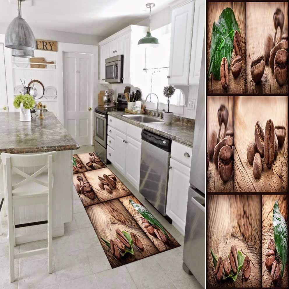 Else Brown Coffee Beans Patchwork Green Leaf 3d Print Non Slip Microfiber Washable Long Runner Mat Kitchen Rugs Hallway Carpets