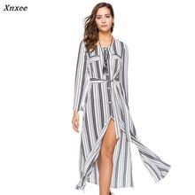 Chiffon maxi dress women 2018 spring long sleeve Striped Shirt blouse Dress robe vintage sexy split work office vestidos clothes
