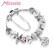 MISSITA Women Silver Plated Charm Bracelet with Rose Pendant String Decoration Brand for Anniversary Gift