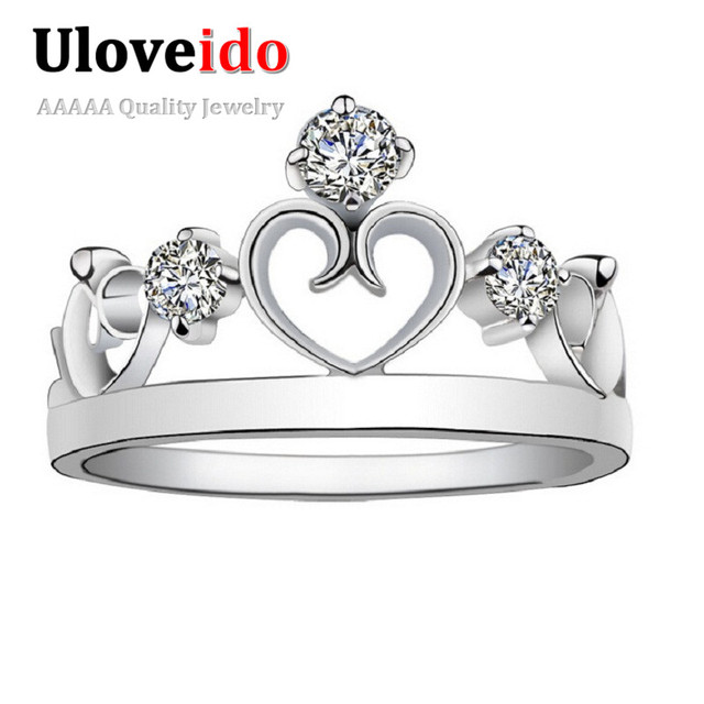 Uloveido Heart Crown Wedding Engagement Rings Cubic Zirconia Princess Ring Women's Jewelry Valentines Day Gift Dropshipping J412