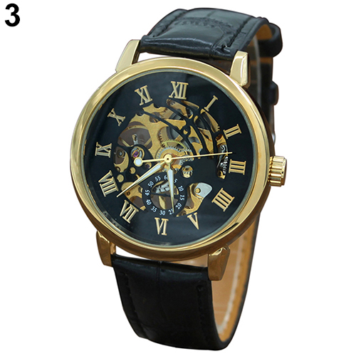 Fashion Mens Watches Top Brand Luxury Leather Strap Waterproof Gold Hollow Automatic Mechanical Vintage Skeleton Role Watch mens mechanical watches top brand luxury watch fashion design black golden watches leather strap skeleton watch with gift box