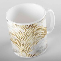 Else White Gray Clouds Golden Yellow Geometric ikat Nordec 3d Print Gift Ceramic Drinking Water Tea Bear Coffee Cup Mug Kitchen