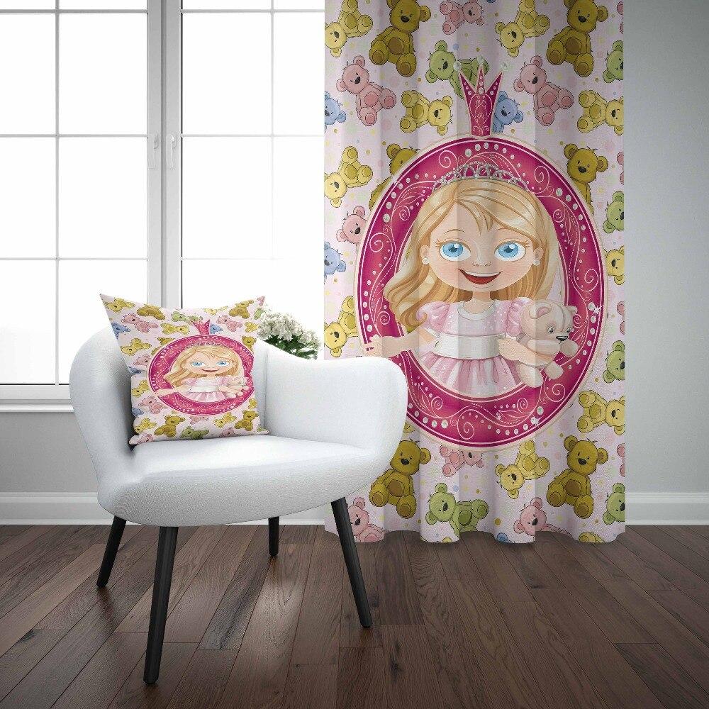 Else Pink Little Princess Blue Yellow Funny Bears 3d Kids Print Baby Children Window Panel Set Curtain Combine Gift Pillow Case|Curtains| |  - title=