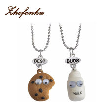 BEST BUDS Miniature Cookies Biscuit Milk Pendant Necklaces BFF Friendship Creative Jewelry Christmas Gift Birthday