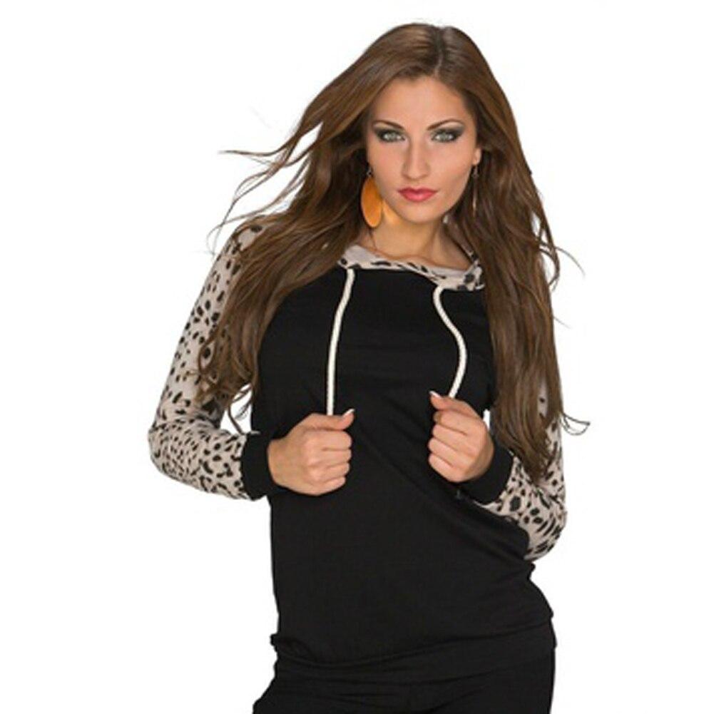 Fashion Women Hoodies Cotton Autumn Winter Coat Long Sleeve Leopard Hoodies Casual Tops hooded Sweatshirt S-XL