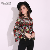 ZANZEA Women 2017 Vintage Floral Embroidery Blouses Tops Sexy Hollow Out Mesh Blusas Shirts Casaul O