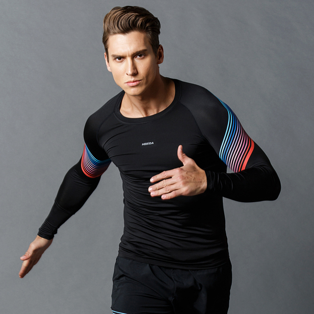 c616a7c6657 Men Running Shirt Long Sleeve Fitness Sport Training Quick Dry Compression  Tight Fit Gym Workout Sportswear Long Tee T-Shirt Men