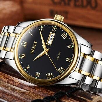 OLEVS Men's Water Resistant Stainless Steel Date Clock Quartz Watches 3