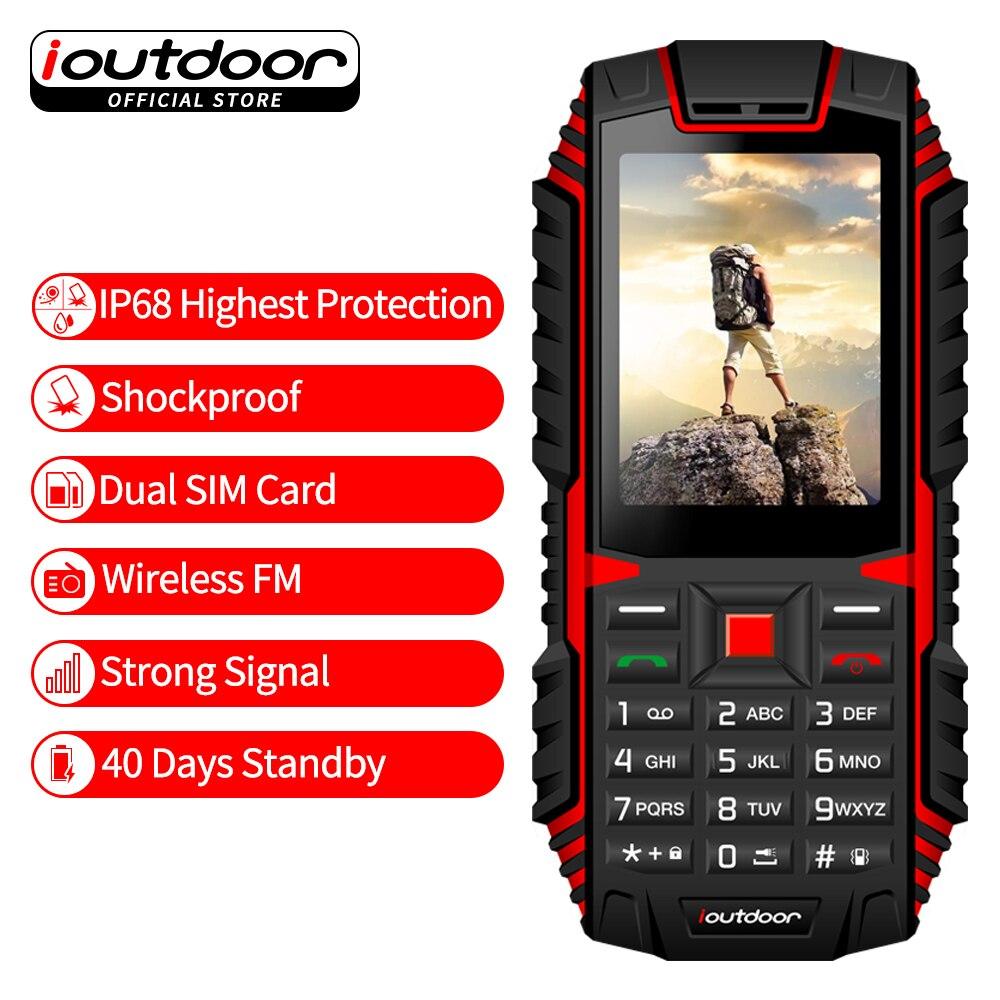 ioutdoor T1 teléfono resistente 2G característica IP68 impermeable a prueba de choques teléfono 2,4 ''GSM 2MP cámara trasera FM 2100 mAh