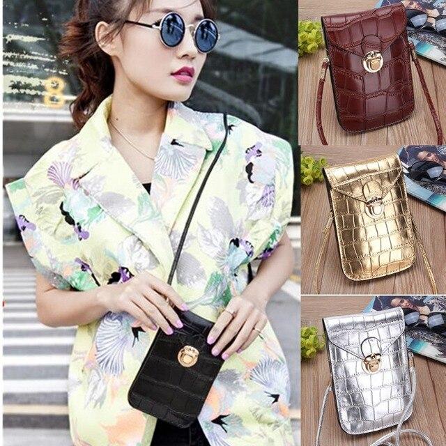 Osmond Silver Mobile Phone Mini Bags Small Clutches Shoulder Bag Crocodile Leather Women Handbag Black Clutch Purse Handbag Flap 10