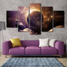 HD Printed Canvas Paintings 5 Pieces Planet Of The Universe Space Modular Picture Living Room Wall Art Home Decorative Poster