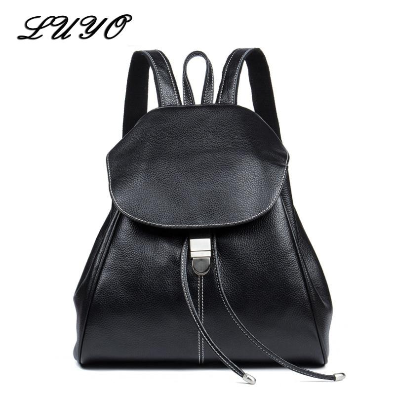 Top Quality Genuine Leather Women Casual Fashion Small Feminine Travel Kawaii Backpack Sac A Dos Bagpack Back Drawstring Bag