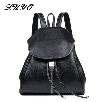Top Quality Genuine Leather Women Casual Fashion Small Feminine Travel Kawaii Backpack Sac A Dos Bagpack Back Drawstring Bag