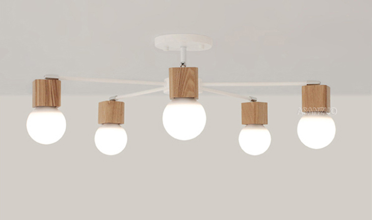 UTB8hGYtByDEXKJk43Oqq6Az3XXaf Nordic iron wood ceiling Light Modern home Living Room Bedroom aisle LED Ceiling Lamp Luminaire Lampara Techo