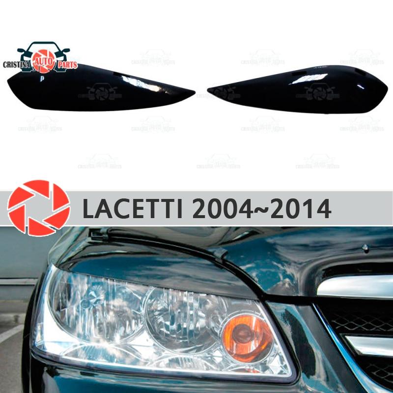 Eyebrows for Chevrolet Lacetti 2004~2014 Sedan for headlights cilia eyelash plastic moldings decoration trim covers car styling black choker neck eyelash trim lace detail bralette top