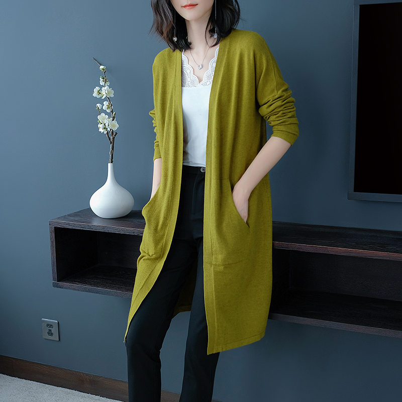 2018 Women Trench Coat Autumn And Winter Knit Solid Open Stitch Cothes