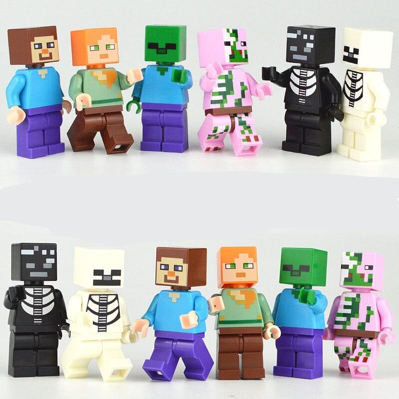 6 יח'\חבילה תואם Legoings Minecrafted Minifigs אבני בניין צעצוע 2018 חדש Minecrafted דמויות Creeper סטיב זומבי המפלגה
