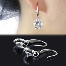 Chic Women Silver Plated Ear Hook Chandelier Crystal Dangle Earring Gift Drop Shipping EAR-0279-SV