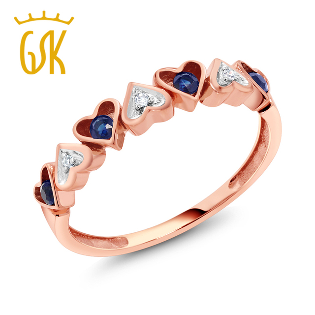 Diamond Ring GemStoneKing Solid 10K Rose Gold 0 22 cttw Natural