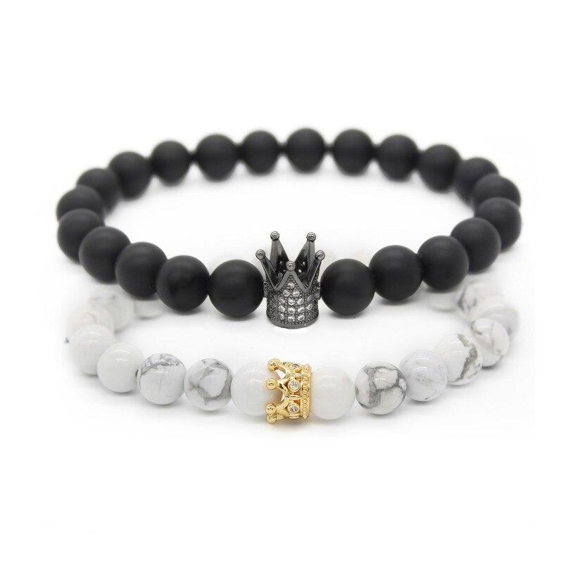 Couple saint-Valentin Pour Elle Et Lui Bracelets Distance Noir et Blanc Perles Cz Couronne Roi Charme Pierre Bracelet Amoureux mbr170283