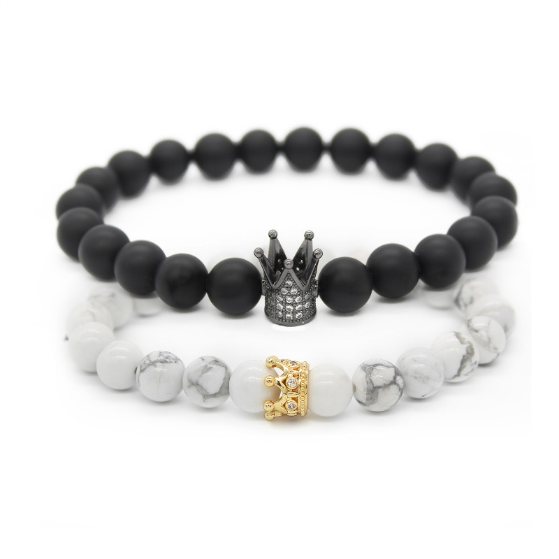 Valentine's Day Couple His And Hers Bracelets Distance Black & White Beads Cz Crown King Charm Stone Bracelet Lovers Mbr170283