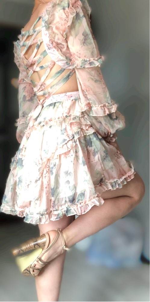 Print Hollow Out Sexy Women Dress V Neck Lantern Sleeve High Waist Ruffles Mini Dresses Female Fashion Summer photo review