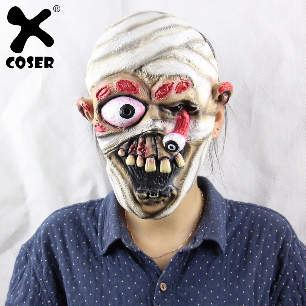 XCOSER Explosive Eye Drop Mummy Halloween Christmas Party Show Props Soft Gloves Horror Ghost Mask Halloween Copslay Accessory