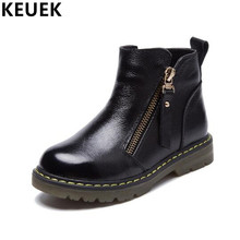 Genuine leather Children Motorcycle boots Autumn Winter Ankle Martin boots Boys Girls shoes Zip Snow boots 041