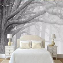 Современный черный и белый лес Дерево Искусство ТВ фон стены