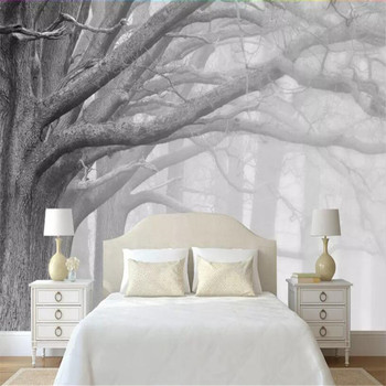 Modern black and white forest tree art TV background wall custom large wallpaper mural 3D photo wall factory wholesale