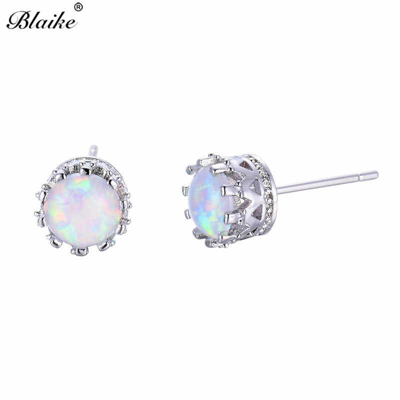 Blaike Charming White/Blue Fire Opal Crown Stud Earrings For Women 925 Sterling Silver Filled 6MM Small Round Birthstone Earring