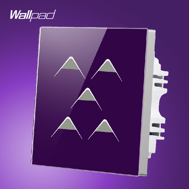 Waterproof Wallpad UK 110V 250V 5 Gang 1 Way 5 Buttons Purple Crystal Glass Touch Wall