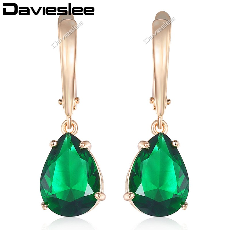 Davieslee Earrings for Women Teardrop Green CZ 585 Rose Gold Filled Cubic Zirconia LGE116