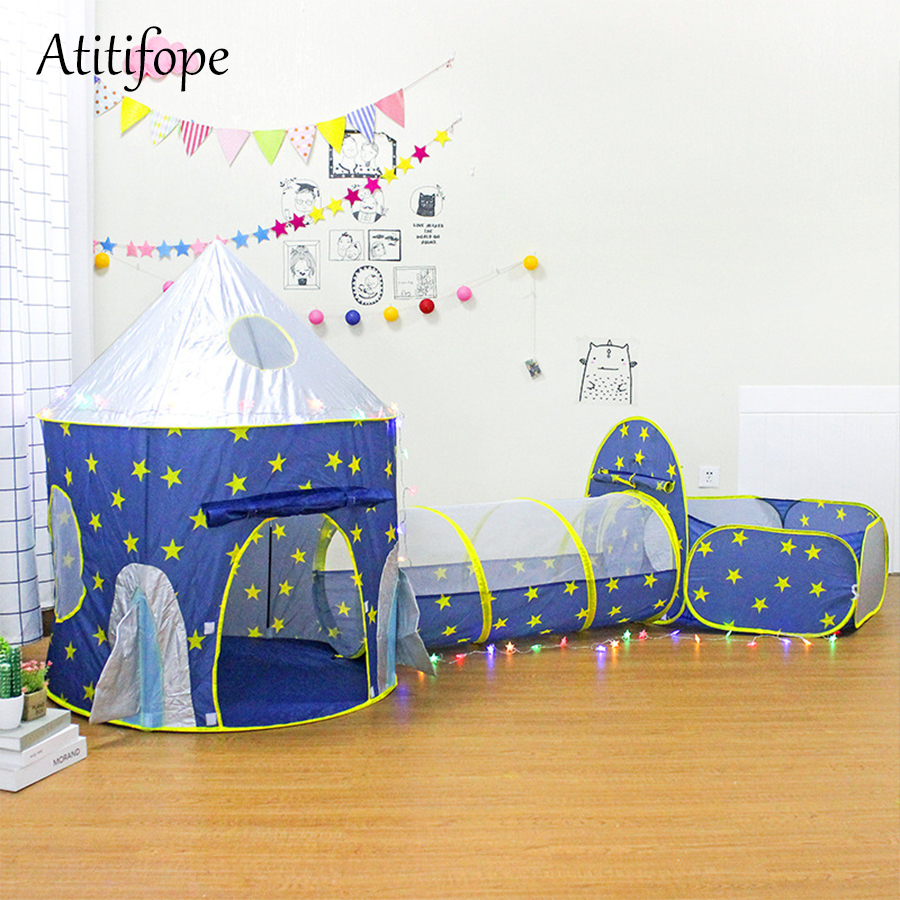 innovative design a9d46 8aff0 US $32.04 50% OFF|3pc Kids Playhouse Pop Up Play Tent Crawl Tunnel & Ball  Pit with Basketball Hoop for Boys Girls Babies and Toddlers Indoor use-in  ...