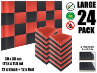 Arrowzoom 24 pcs Red and Black Multi Wedge 12T Acoustic Studio Foam Tile Sound Absorption Panel 30 x 30 cm (11.8 x 11.8 inches)