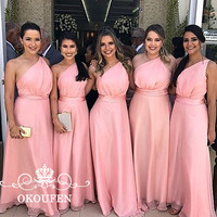 Pink One Shoulder Bridesmaid Dresses For Women High Waist 2018 Sleeveless Maid Of Honor Dress For Party Wedding Gown A Line